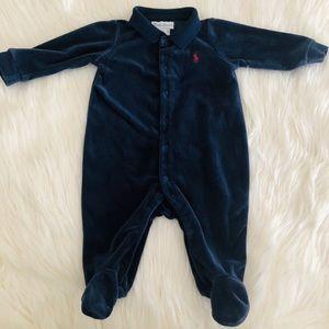 Ralph Lauren baby velour footed onesie